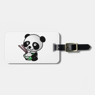 Cute Panda Eating Rice from Bowl with Chopsticks Tag For Luggage