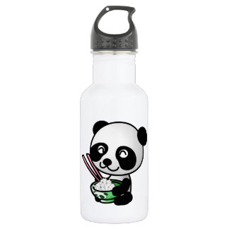 Cute Panda Eating Rice from Bowl with Chopsticks Water Bottle