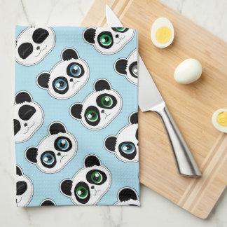 Cute Panda Expression Blue Towel