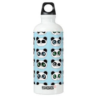 Cute Panda Expression Blue Water Bottle