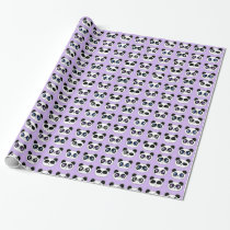 Cute Panda Expression Purple Wrapping Paper