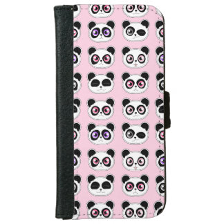Cute Panda Expressions Pattern Pink iPhone 6 Wallet Case