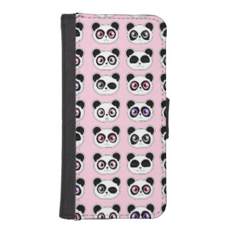 Cute Panda Expressions Pattern Pink Wallet Phone Case For iPhone SE/5/5s