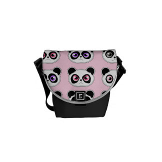 Cute Panda Expressions Pink Courier Bag