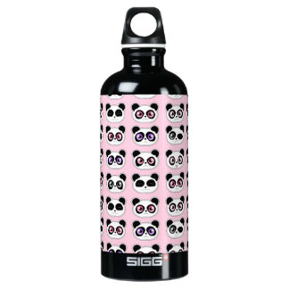 Cute Panda Expressions Pink Water Bottle
