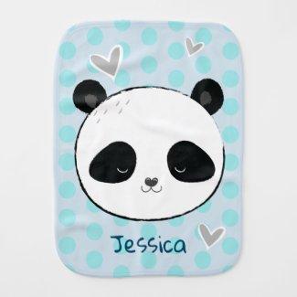 Cute Panda Face and Hearts Custom Name Baby Burp Cloth