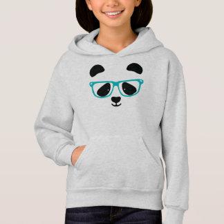 Cute Panda Face Aqua Hoodie
