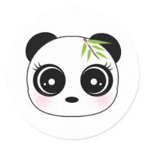 Cute panda face classic round sticker