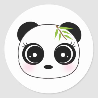 Cute panda face classic round sticker