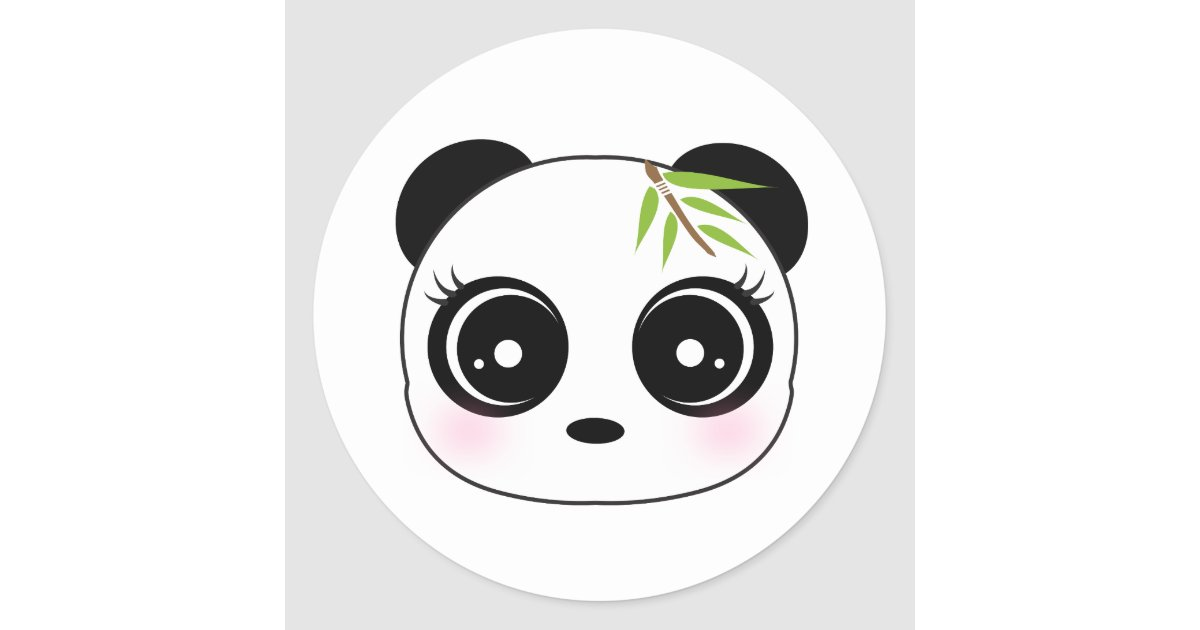 cute panda face classic round sticker zazzle