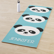 Cute Panda Face Kawaii Personalized Blue Pattern Yoga Mat