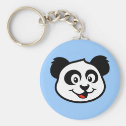 Basic Button Keychain with Cute Panda Face design
