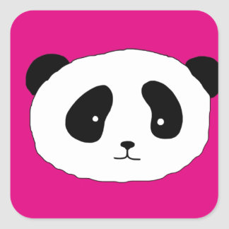 Cute Panda Face pattern pink Square Sticker