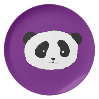 Cute Panda Face pattern purple Party Plate