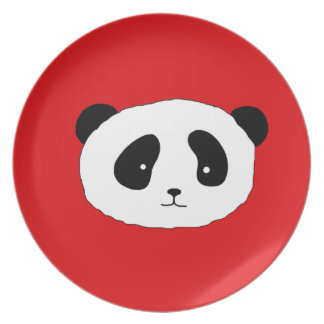 Cute Panda Face pattern red Party Plates