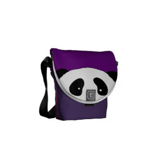 Cute PANDA FACE purple Courier Bag