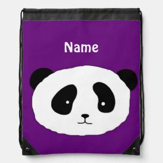 Cute PANDA FACE purple Drawstring Backpack