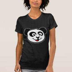 Women's American Apparel Fine Jersey Short Sleeve T-Shirt with Cute Panda Face design