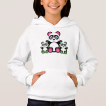 Cute Panda Family In Green And Pink Hoodie