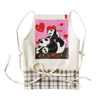 Cute Panda family mom and baby pandas Zazzle HEART Apron