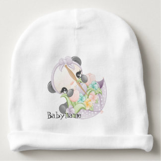 Cute Panda Flowers Umbrella Personalized Baby Beanie