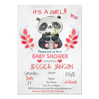 CUTE PANDA GIRL BABY SHOWER INVITATION