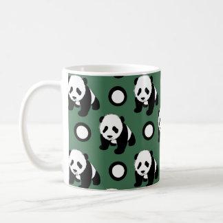 Cute Panda; Green, Black & White Polka Dots Classic White Coffee Mug