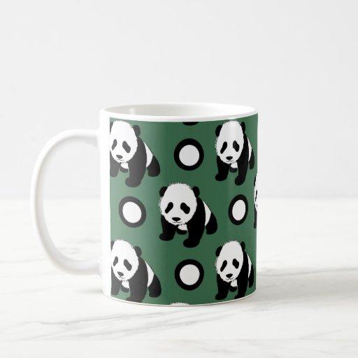 Cute Panda; Green, Black & White Polka Dots Coffee Mug
