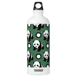 Cute Panda; Green, Black & White Polka Dots SIGG Traveler 1.0L Water Bottle