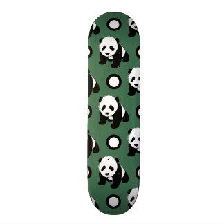 Cute Panda; Green, Black & White Polka Dots Skate Decks
