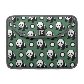 Cute Panda; Green, Black & White Polka Dots Sleeve For MacBook Pro