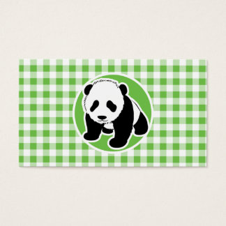 Cute Panda; Green Gingham Business Card