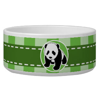 Cute Panda; Green Gingham Pet Water Bowls