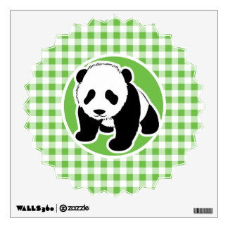 Cute Panda; Green Gingham Wall Sticker