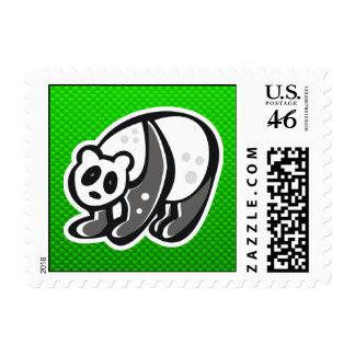 Cute Panda; Green Postage Stamp