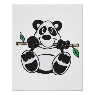cute panda hanging from branch poster