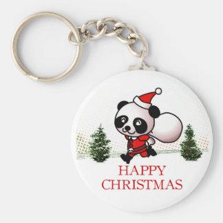 Cute Panda Happy Christmas Keychain