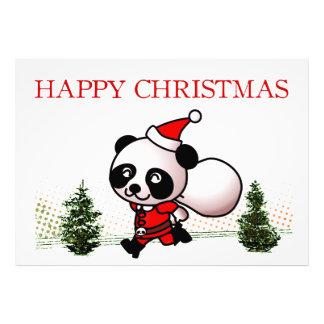 Cute Panda Happy Christmas Photo Print