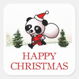 Cute Panda Happy Christmas Square Sticker