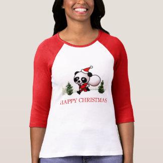 Cute Panda Happy Christmas Tee Shirt
