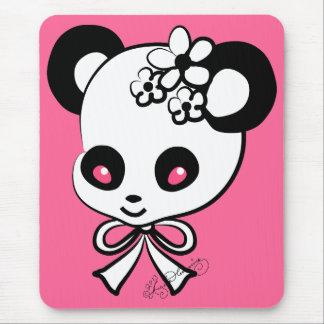 Cute Panda  Head On Pink Mouse Pad