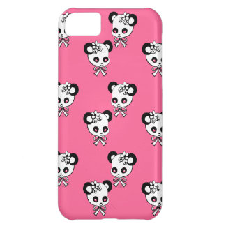 Cute Panda Heads Pattern Pink Cover For iPhone 5C