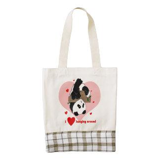 Cute Panda Heart Totes bags