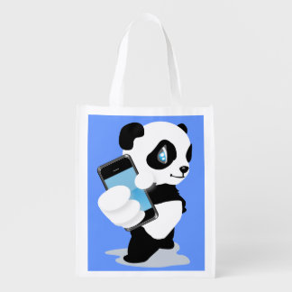 Cute Panda holding a smartphone cartoon Grocery Bags