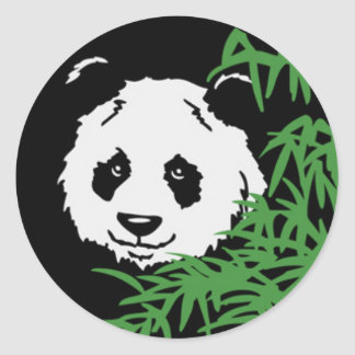 Cute Panda in the Bushes Classic Round Sticker
