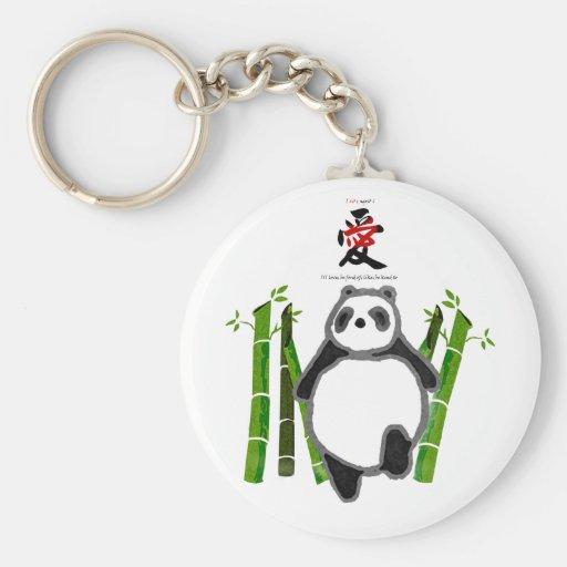 Cute panda ink drawing key chain