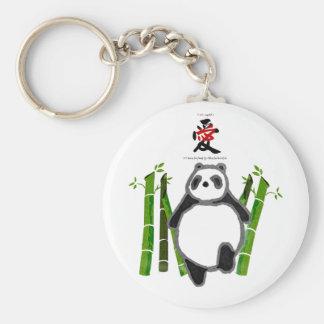 Cute panda ink drawing keychain