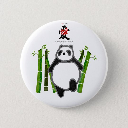 Cute panda ink drawing pinback button
