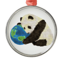 Cute Panda Metal Ornament