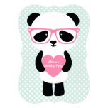 Cute Panda Mint/Pink 5x7 Paper Invitation Card